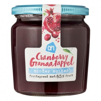 Huismerk Cranberry- granaatappel fruitspread