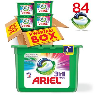 Ariel 3in1 pods kleur&stijl capsules kwartaalbox 84 wasbeurten