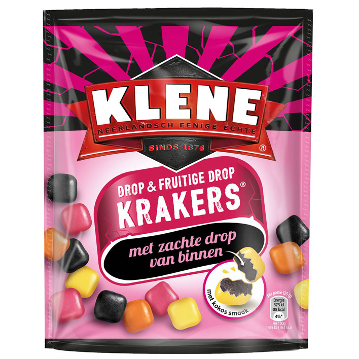 Klene Krakers fruitige drop kokos