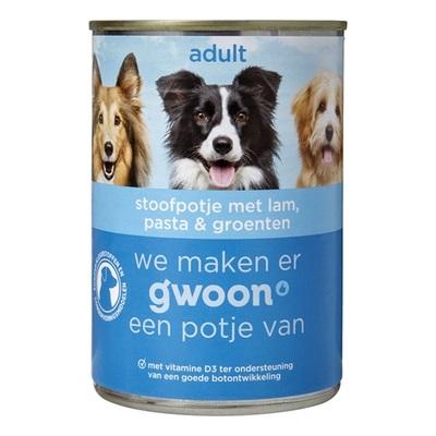 Huismerk adult hondenvoer stoofpotje met lam, pasta en groenten