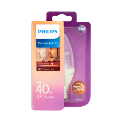 Philips Dimmable LED Lamp Warm White 6W E