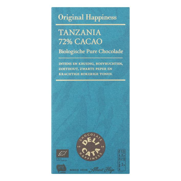 Huismerk Reep pure chocolade Tanzania 72%