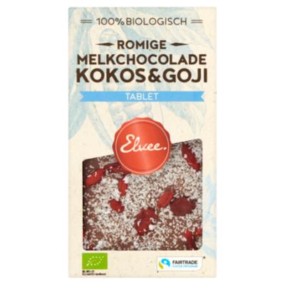 Elvee Chocolade Elvee Melk kokos-goji tablet