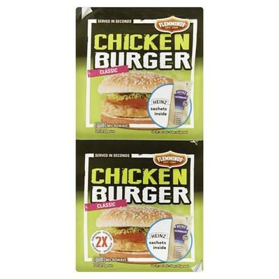 Flemmings Flemmings chickenburger heinz 2 stuks