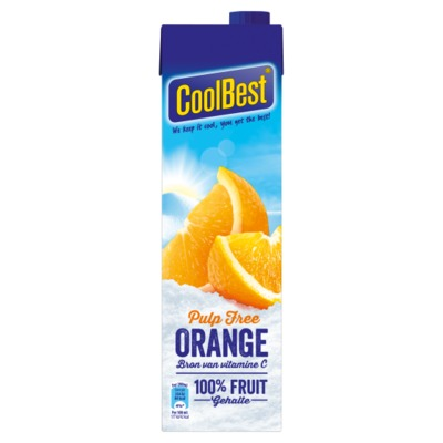 Coolbest premium orange pulp free 1 liter