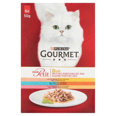 Gourmet Duo Kleine Porties met Zalm en Kip, Tonijn en Rund, Forel en Kalkoen 6 x 50 g