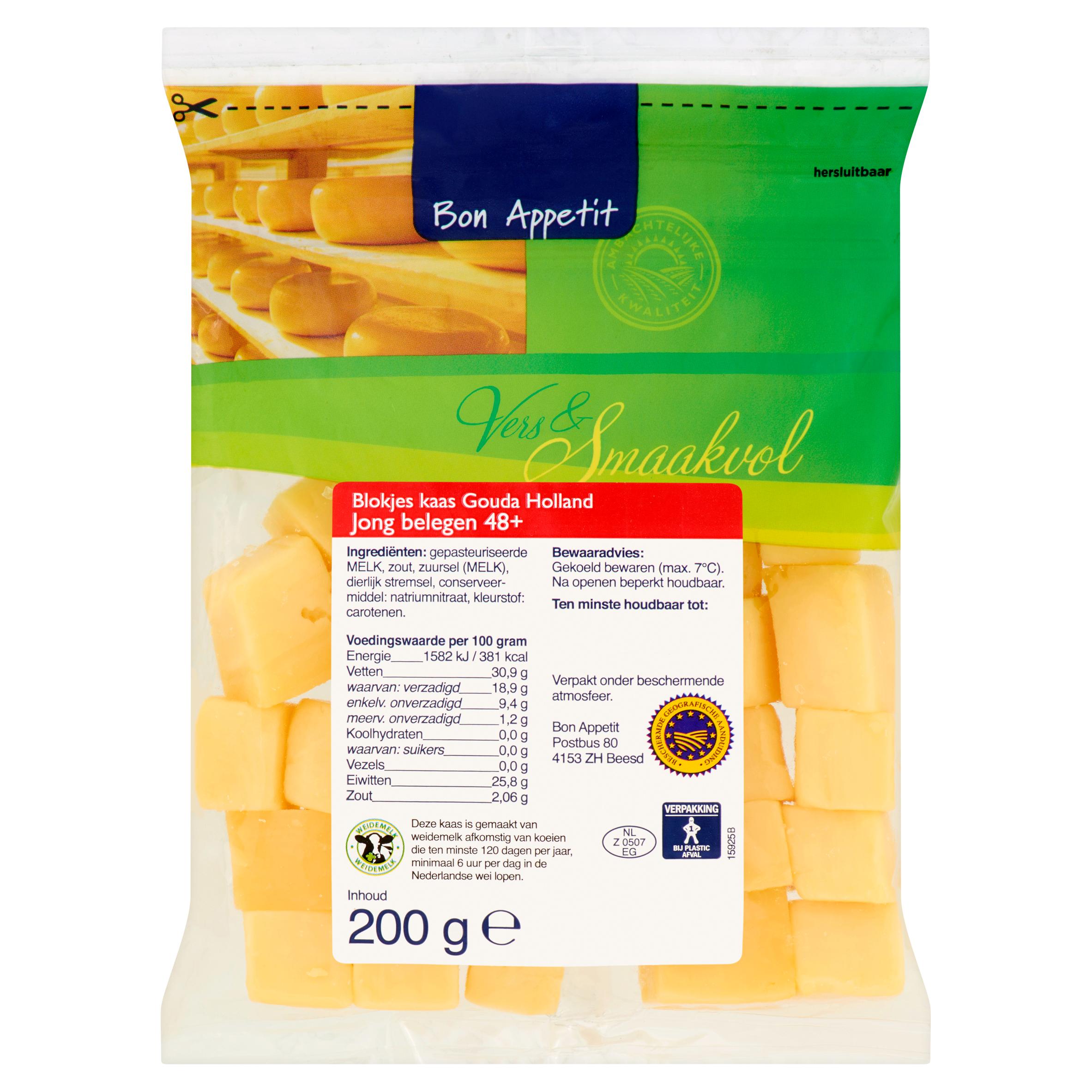 Bon Appetit Blokjes Kaas Gouda Holland Jong Belegen 48+ 200 g