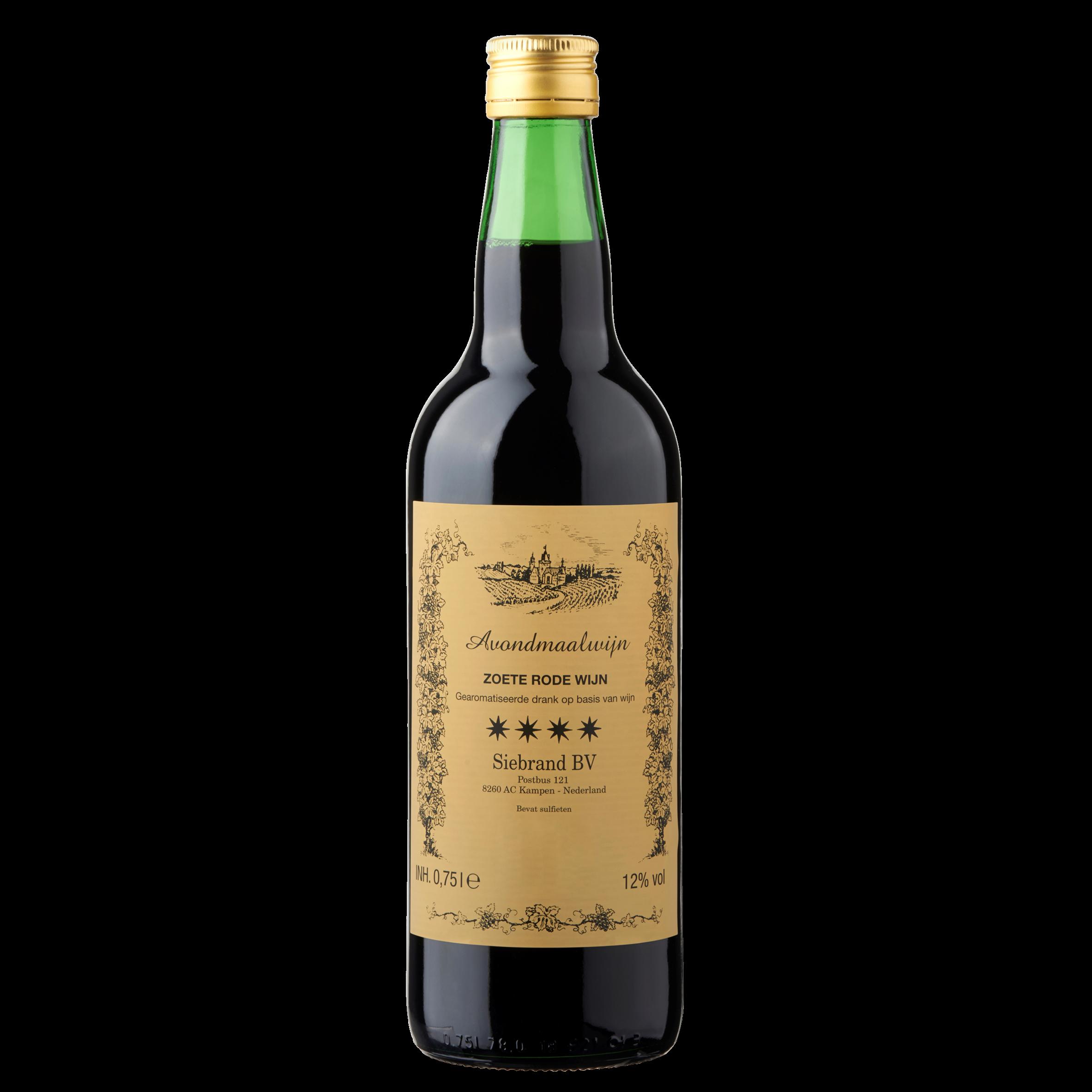 Siebrand Avondmaalwijn Zoete Rode Wijn 0,75 L