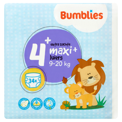 Bumblies Luiers 4+ Maxi+ 9-20 kg 34 Stuks