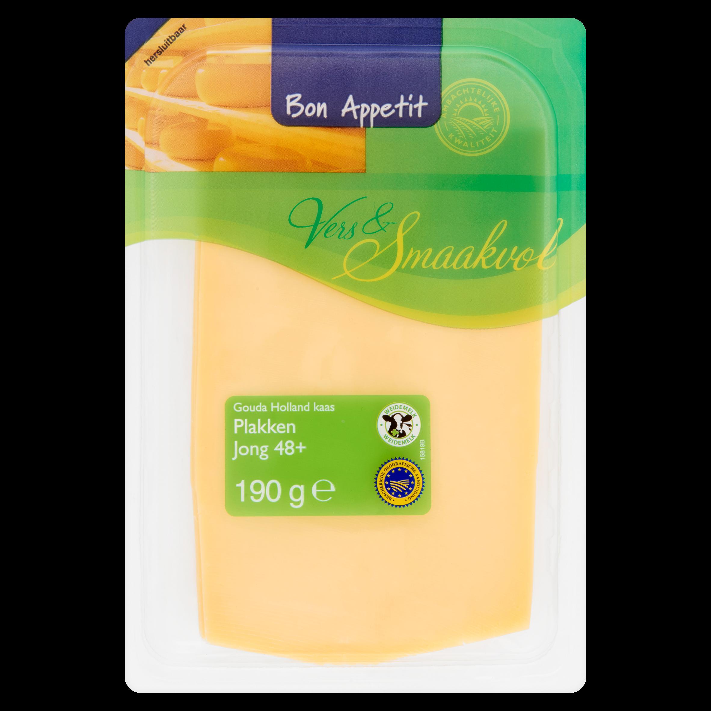 Bon Appetit Gouda Holland Kaas Jong 48+ Plakken 190 g