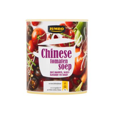 Huismerk Chinese Tomatensoep met Noedels, Waterkastanje en Taugé