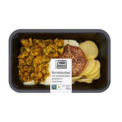 Huismerk Foodmarkt Kerriebloemkool met Aardappelschijfjes, Gehaktbal en Mosterdsaus