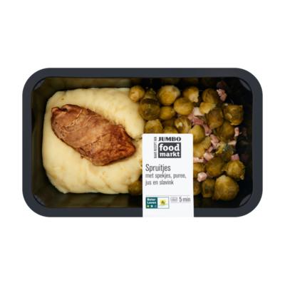 Huismerk Foodmarkt Spruitjes met Spekjes, Puree, Jus en Slavink
