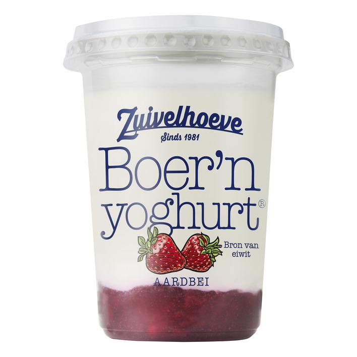 Zuivelhoeve Boer'n yoghurt aardbei beker