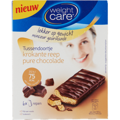 Weight Care Tussendoortje Krokante Reep Pure Chocolade