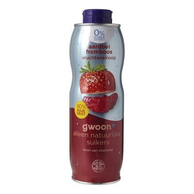 Huismerk 0% suiker vruchtensiroop aardbei framboos
