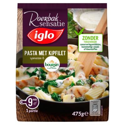 Iglo Roerbaksensatie Pasta met Spinazie, Kipfilet & Boursin 450 g