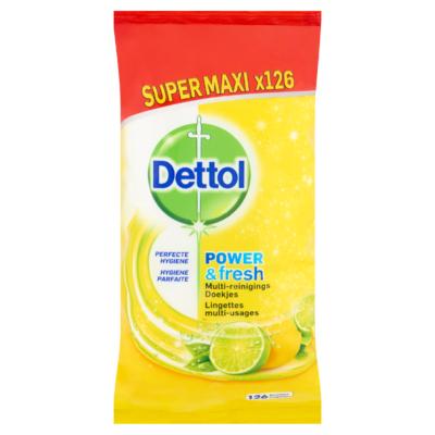 Dettol Power & Fresh Multi-Reinigings Doekjes Sprankelende Citroen & Limoen Super Maxi x126 Stuks