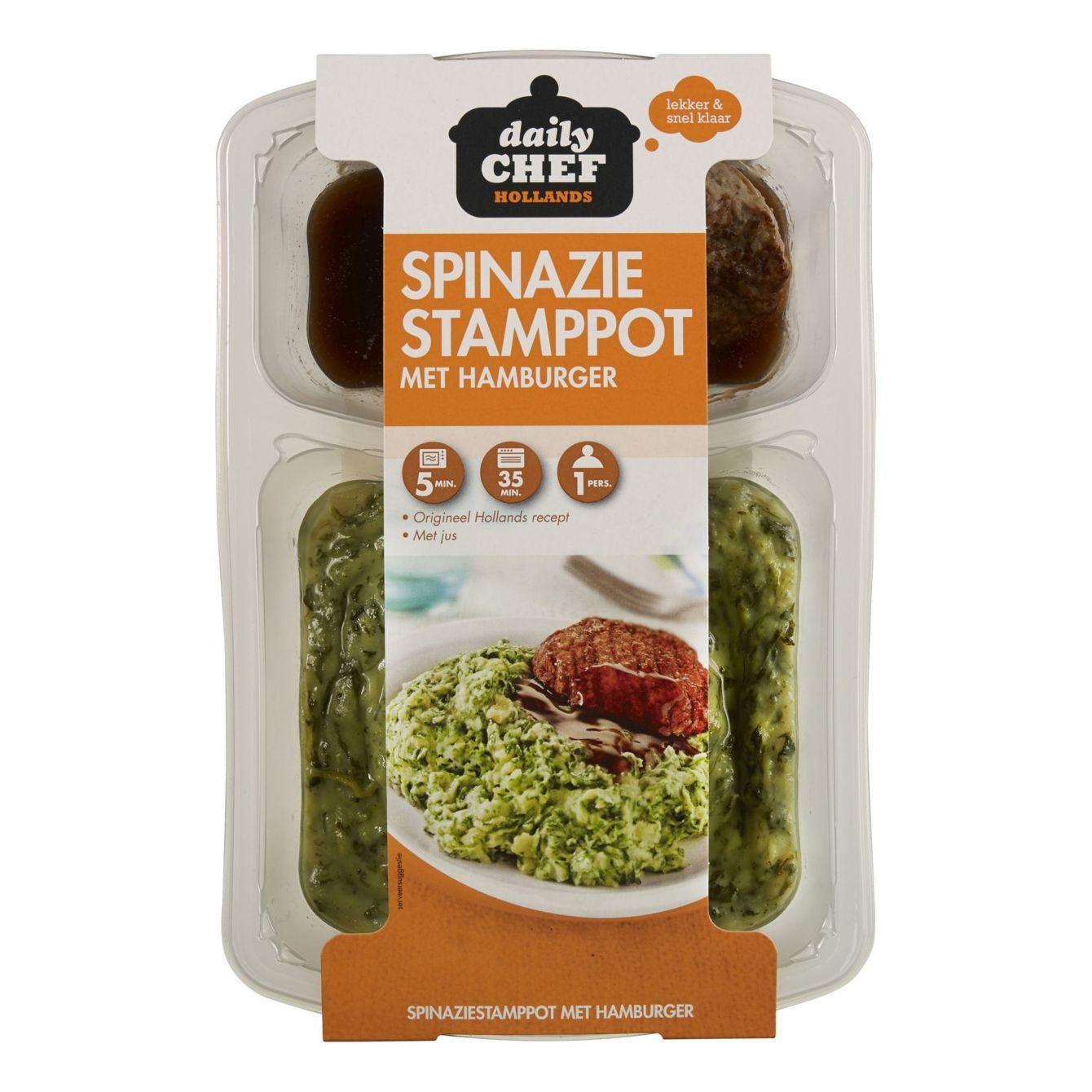 Huismerk Spinazie Stamppot Met Hamburger & Mosterdjus