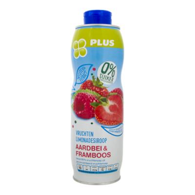 Huismerk Siroop aardbei-framboos 0% suiker