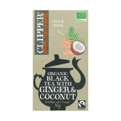 Clipper Organic Black Tea with Ginger & Coconut 20 Zakjes