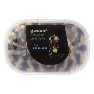 G'woon Slagroomijs Drie Chocolade