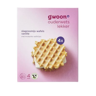 G'woon Slagroomijs Wafels Tricolore