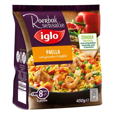Iglo Roerbaksensatie paella kipfilet garnalen