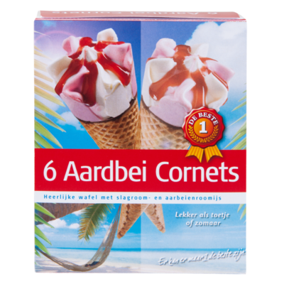 Huismerk Cornets aardbei