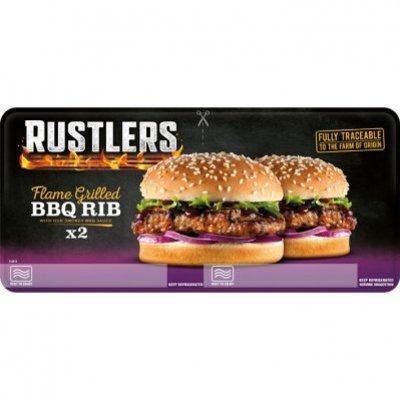Rustlers Twin BBQ rib burger