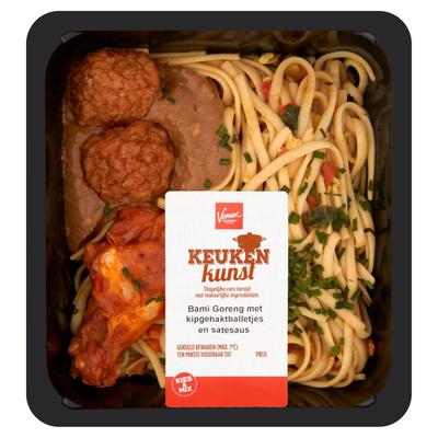 Keukenkunst Bami Goreng met Kipgehaktballetjes en Satesaus 450 g