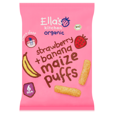 Ella's Kitchen Strawberry banana maize puffs 6 maanden