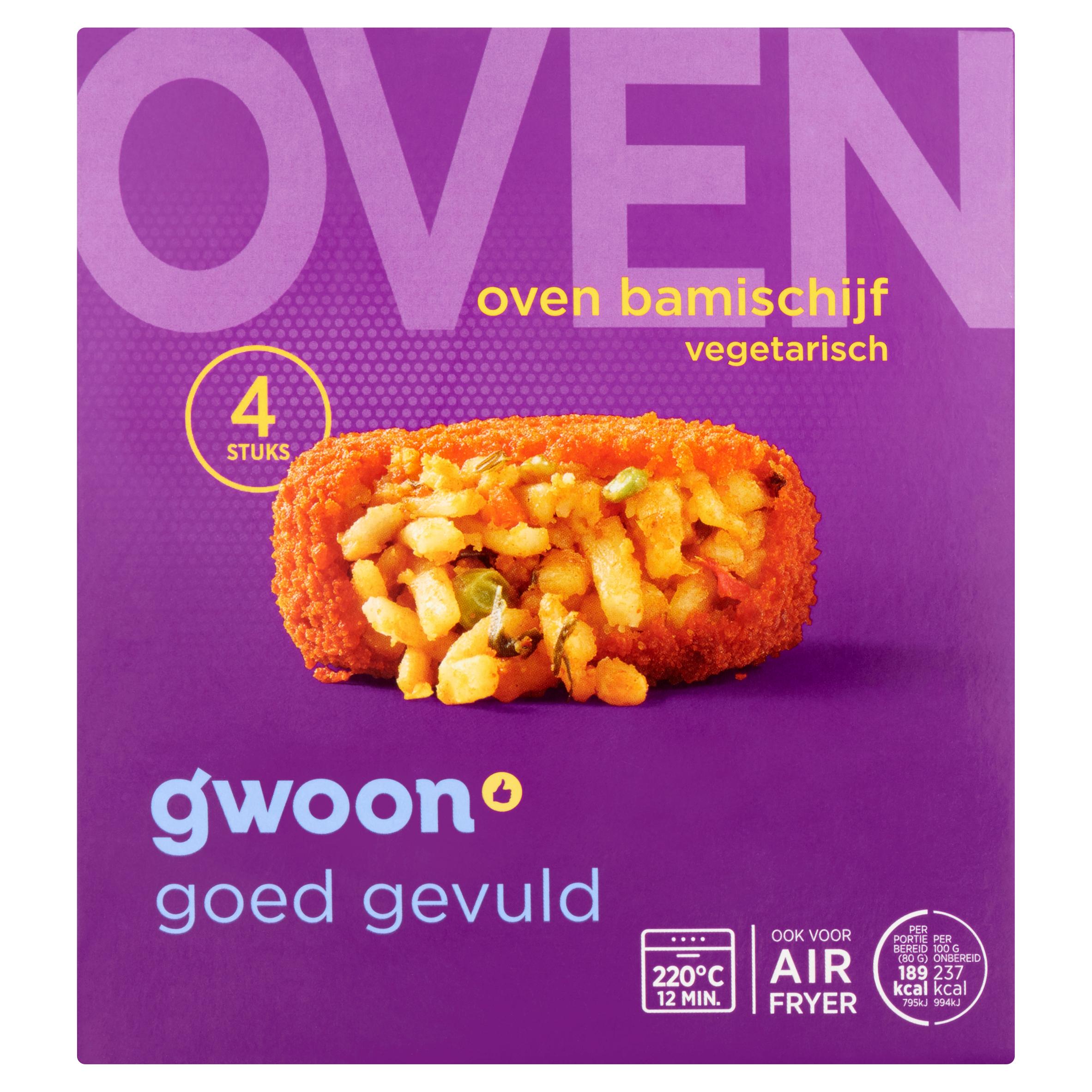 Huismerk Oven Bamischijf Vegetarisch 4 x 80 g