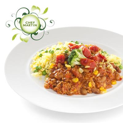 Chef Martin Chili sin carne en gele rijst en doperwt