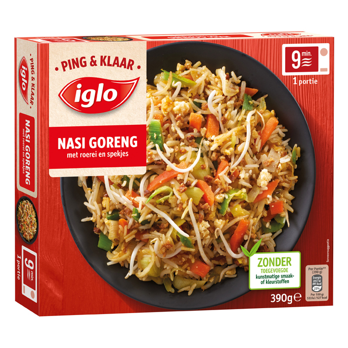Iglo Ping & klaar Nasi goreng ei spek