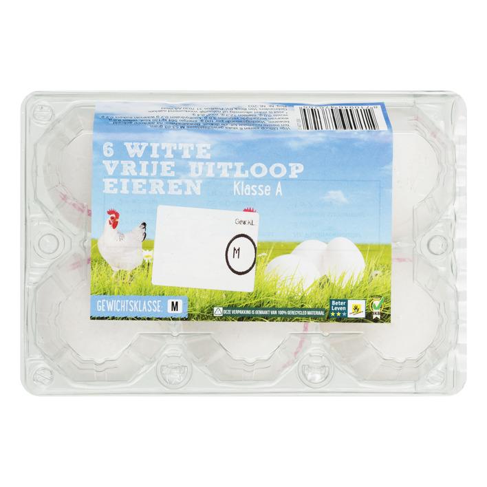 Witte vrije uitloop eieren M