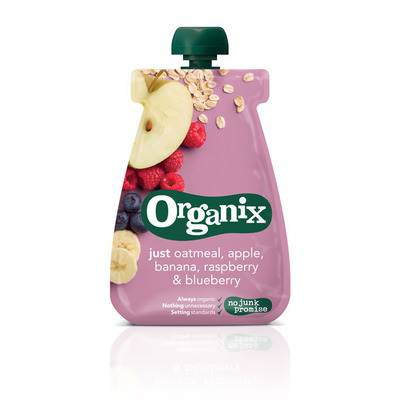 Organix Just oat apple banana raspberry blue