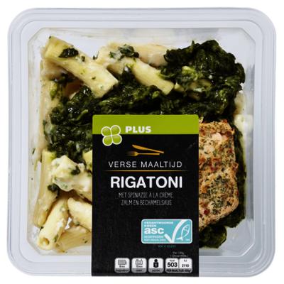 Huismerk Rigatone bechamel met spinazie en zalm