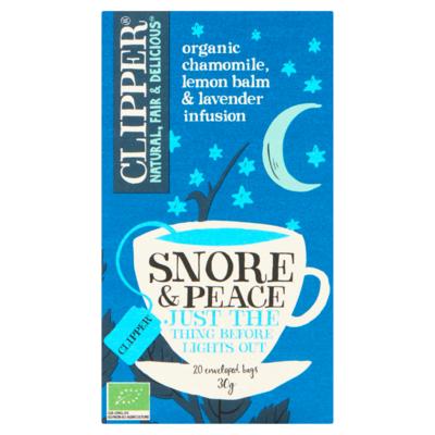 Clipper Snore & Peace Organic Chamomile, Lemon Balm & Lavender Infusion 20 Stuks 30 g