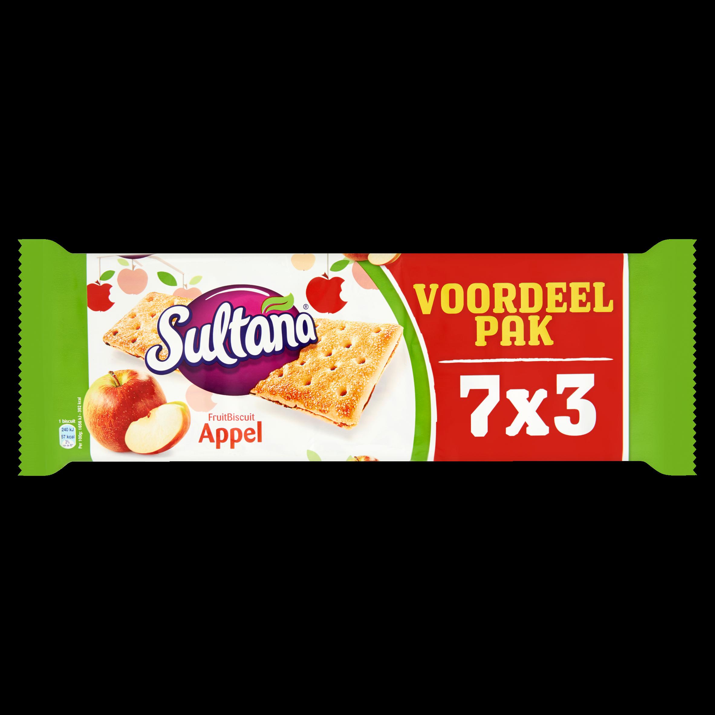 Sultana de Originele Fruitbiscuit Appel Voordeelpak 21 Stuks 306 g