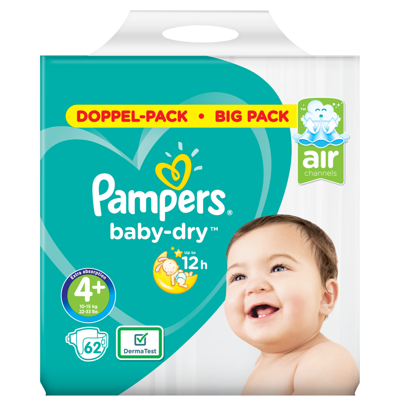 Pampers Baby dry maxi+ maat 4 bigpack