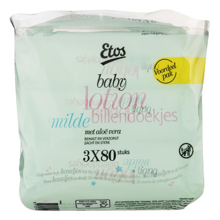 Huismerk Baby mild lotion billendoekjes 3x