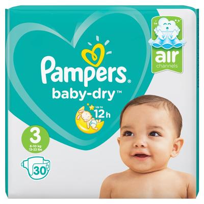 Pampers Baby-Dry Maat 3, 30 Luiers, Voor Droge Ademende Huid