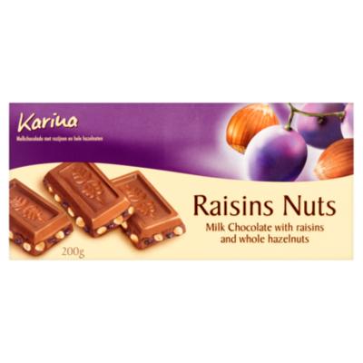 Karina Chocoladereep Melk Druif Noot