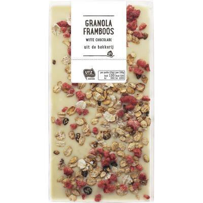 Huismerk Witte chocolade granola framboos