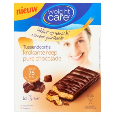 Weight Care Tussendoortje Krokante Reep Pure Chocolade 6 x 17 g