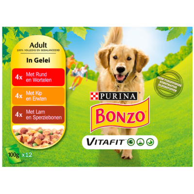Bonzo Hondenvoer adult rund-kip-lam gelei