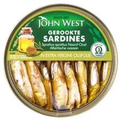 John West Gerookte Sardines in Extra Vergine Olijfolie 106 g