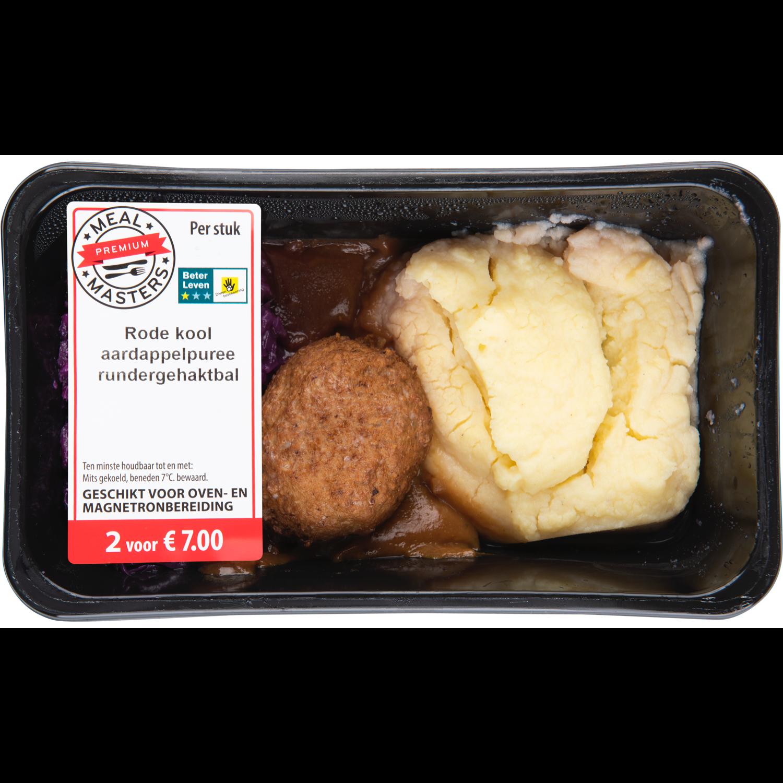 Mealmasters Rode kool aardappel puree en gehaktbal