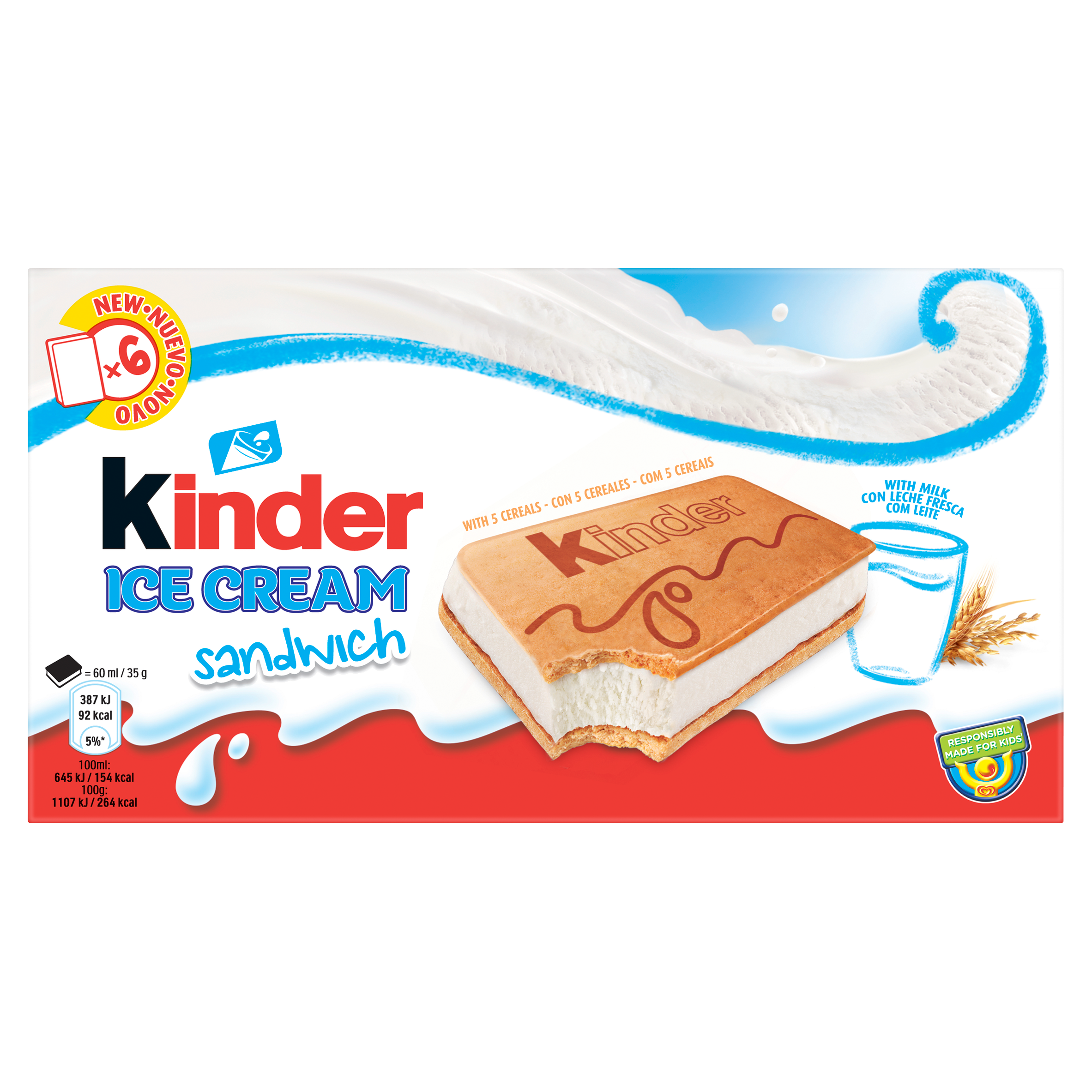 Kinder IJs Sandwich 6 x 60 ml